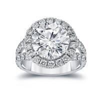 Auriya 18k Gold 6ct TDW Round-cut Certified Diamond Halo Engagement Ring - White
