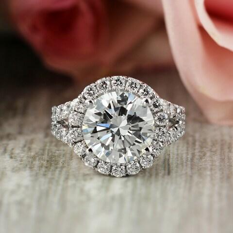 Auriya 18k Gold 6 Carat TDW Certified Round Cut Halo Unique Diamond Engagement Ring - White H-I