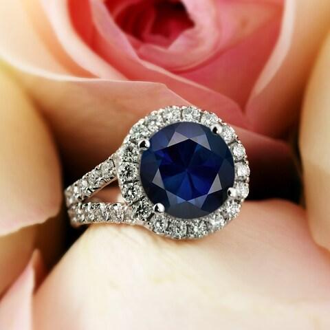 Auriya 18k Gold 4ct Round cut Blue Sapphire and 2 ctw Halo Diamond Engagement Ring