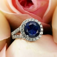 18k Gold 4 carat Round Blue Sapphire and 2 ctw Diamond Halo Engagement Ring by Auriya