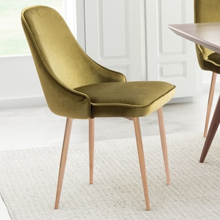 Merritt Green Velvet and Brushed-gold-finished Steel Upholstered Single Dining Chair