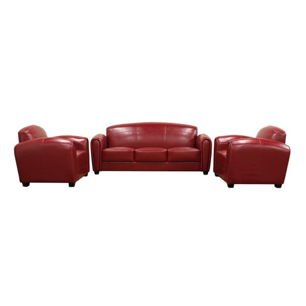 Red Bi-cast Leather Two Chairs and Sofa Set