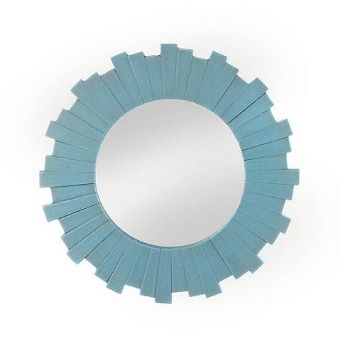 Blue Antique Round Wooden Wall Mirror