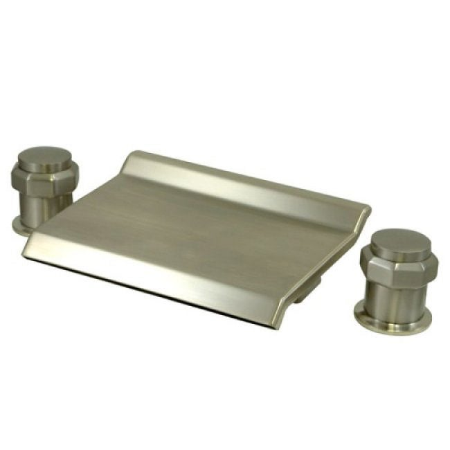 Polished brass widespread bathroom faucet - Waterfall Spout Deck Mount Satin Nickel Tub Filler Free