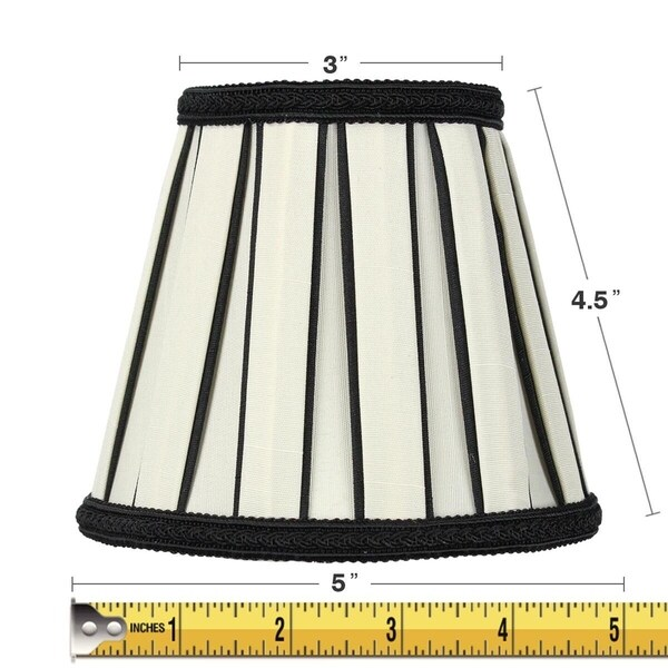 3x5x5 Eggshell with Black Chandelier Clip-On Lampshade