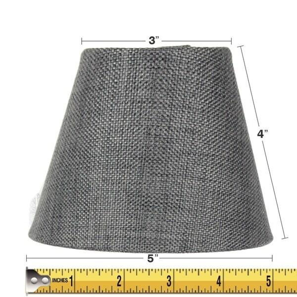 3x5x4 Granite Grey Burlap Lamp Shade - Clip-on Candelabra Shade