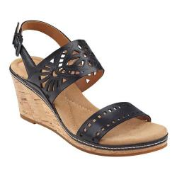 Women's Easy Spirit Kristina Wedge Sandal Black Leather