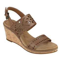 Women's Easy Spirit Kristina Wedge Sandal Brown Leather