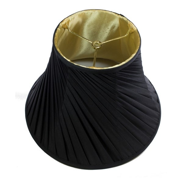 8x16x12 Crisp Linen Twist Bell Lamp Shade Black Fabric