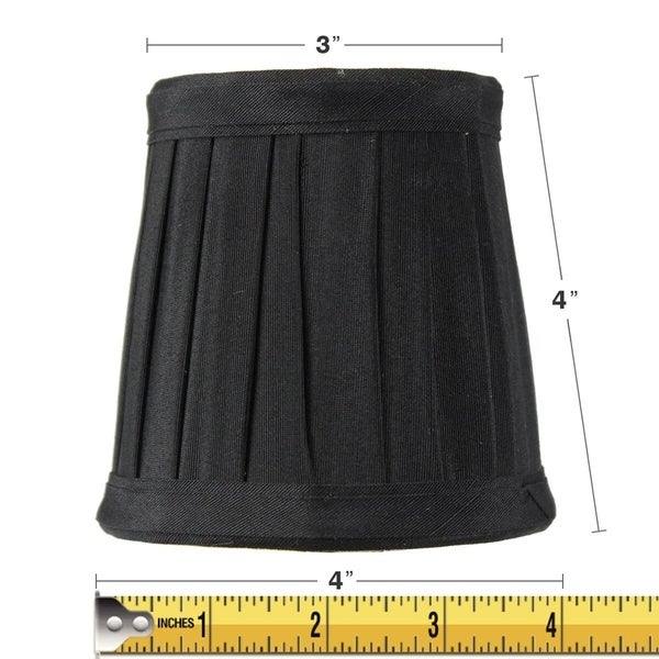 3x4x4 Bold Black Lamp Shade Honey Comb Lining Pleated Clip-on Candelabra Lampshade