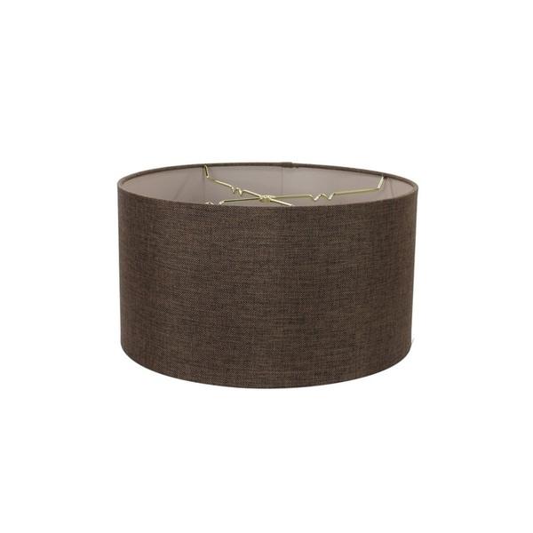 Chocolate Burlap Shallow Drum Lampshade 18x18x10