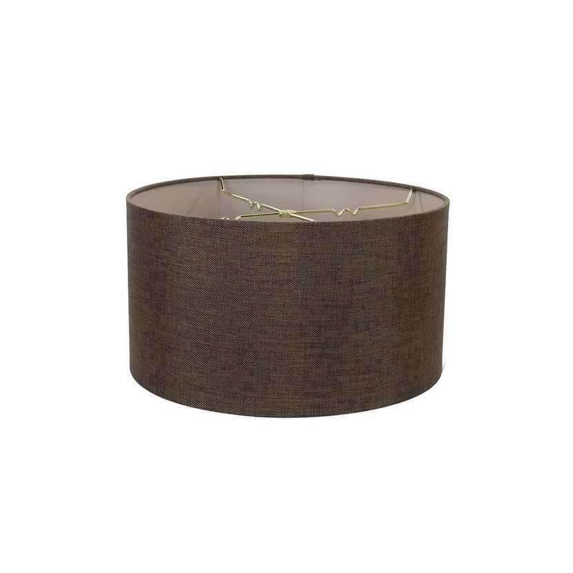 Concept Chocolate Burlap Shallow Drum Lampshade 18x18x10,...