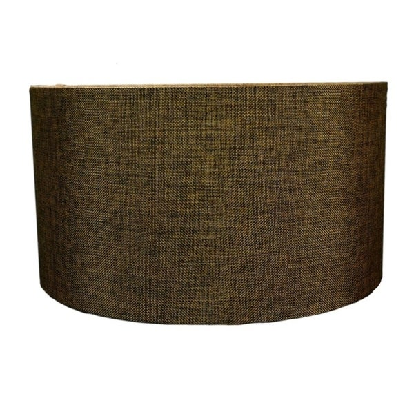 Chocolate Burlap Hardback Drum Lampshade 14x14x7