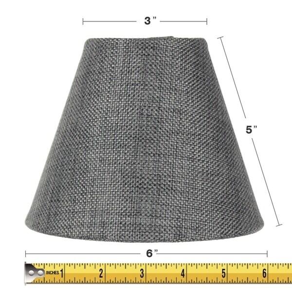 3x6x5 Granite Grey Burlap Chandelier Lamp