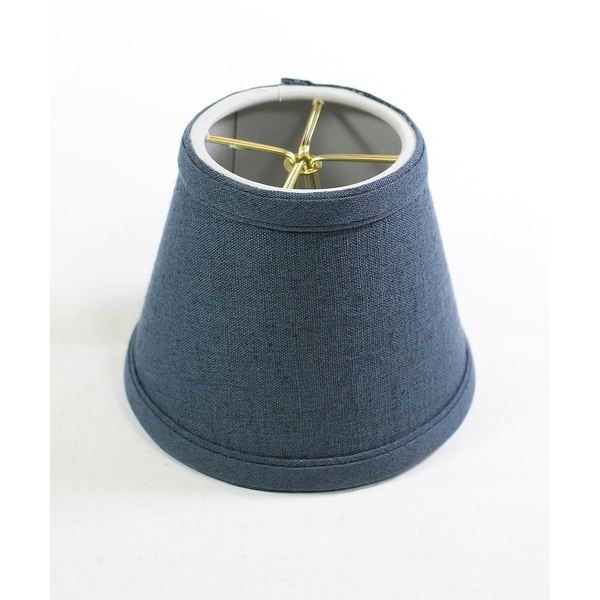 Textured Slate Blue Chandelier Lamp Shade -