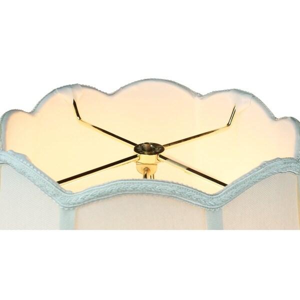 9x18x13 Scalloped Bell Lamp Shade Premium Light Oatmeal Linen