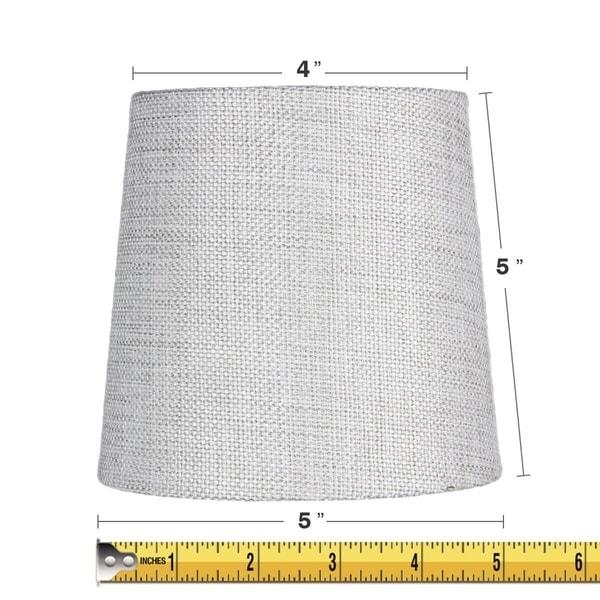 5x6x5 Khaki Burlap Drum Chandelier Clip-On Lampshade