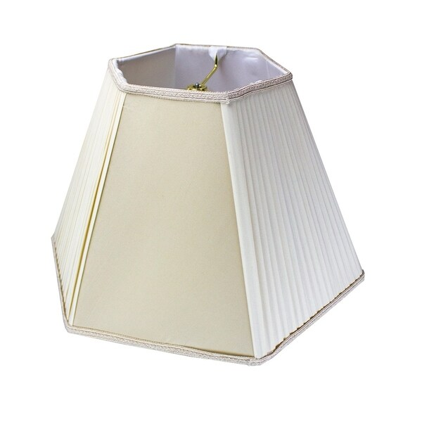 8x16x12 Pleated Hexagon Lamp Shade Egg Shell with Brass Spider Fitter