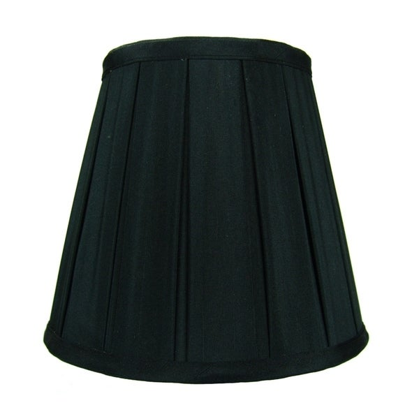 5x8x7 Empire Box Pleat Black Lampshade with Shantung fabric and Gold Liner