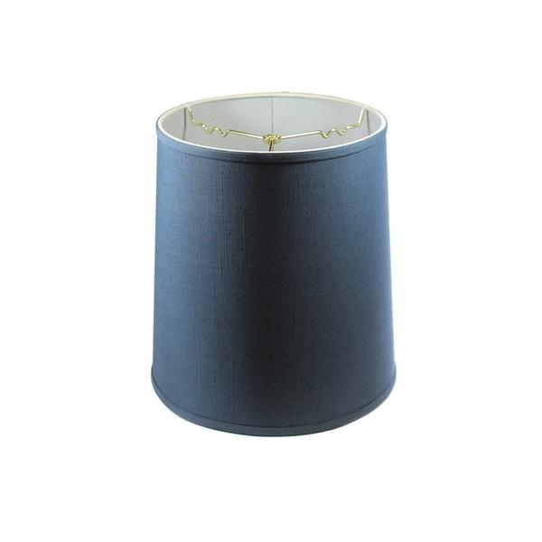Textured Slate Blue Drum Shantung Shade