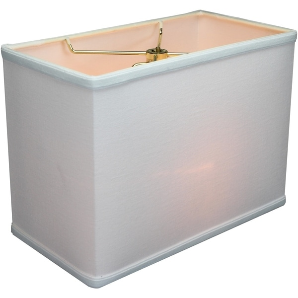 Rectangular Drum Lampshade (6.5x12) (6.5x12) x 9 White Linen
