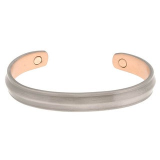 Magnetic Copper Cuff Bracelet with Pewter Finish