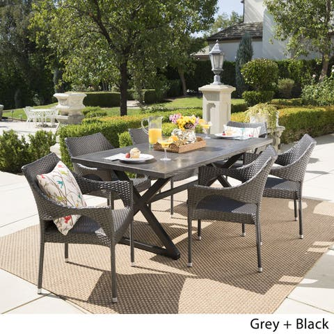 Grayson Outdoor 7-piece Rectangular Wicker Aluminum Dining Set by Christopher Knight Home