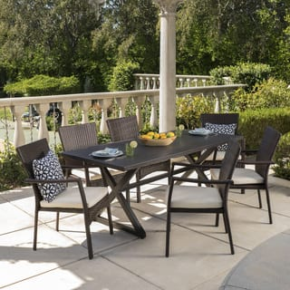 Adina Outdoor 7-piece Rectangular Wicker Aluminum Dining Set with Cushions by Christopher Knight Home
