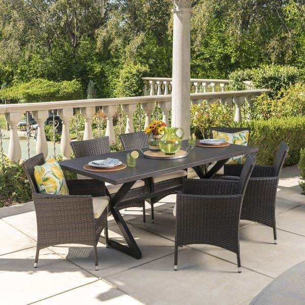 Dion Outdoor 7-piece Rectangular Wicker Aluminum Dining Set with Cushions by Christopher Knight Home