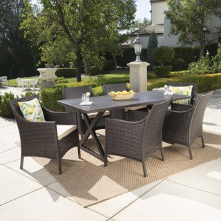 Dia Outdoor 7-piece Rectangular Wicker Aluminum Dining Set with Cushions by Christopher Knight Home