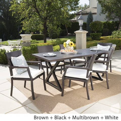 Alani Outdoor 7-piece Rectangular Wicker Aluminum Dining Set with Cushions by Christopher Knight Home