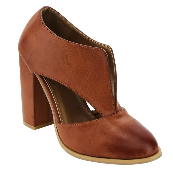 FN19 Women's Front Cut Out Slip On Wrapped Chunky Heel Ankle Booties