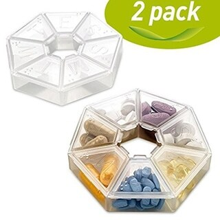 MEDca Weekly Pill Organizer Clear 7-Sided Pill Reminder Round Shaped (Pack of 2)