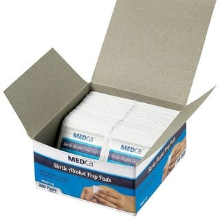 MEDca Alcohol Prep Pads, Sterile, Medium, 2-Ply PACK OF 200|https://ak1.ostkcdn.com/images/products/18496146/P24609779.jpg?impolicy=medium
