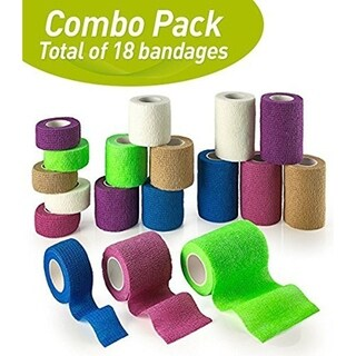 MEDca Self Adhesive Non Woven Cohesive Bandage 18 Assorted Rolls Rainbow Color