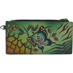 Women's ANNA by Anuschka Leather Credit Card Organizer/Wallet 1713 Animal Butterfly Green