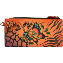 Women's ANNA by Anuschka Leather Credit Card Organizer/Wallet 1713 Animal Butterfly Tangerine