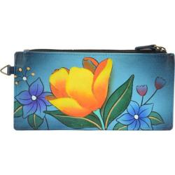 Women's ANNA by Anuschka Leather Credit Card Organizer/Wallet 1713 Floral Garden Denim