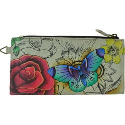 Anna by Anuschka Womens Rfid Blocking Bi-fold Wallet With Strap Floral Paradise