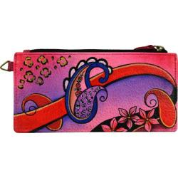 Women's ANNA by Anuschka Leather Credit Card Organizer/Wallet 1713 Paisley Collage Pink
