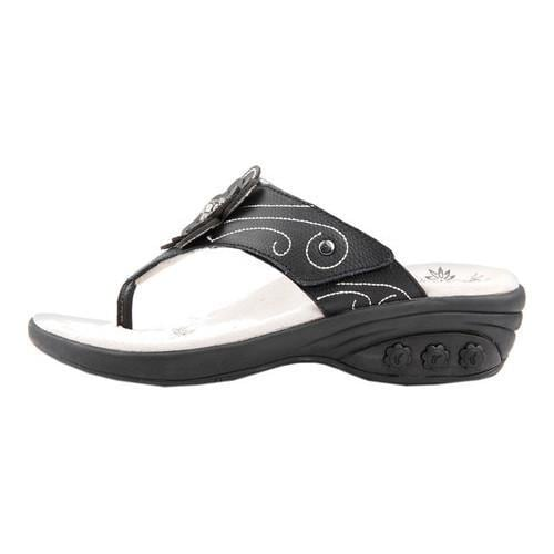 Women's Therafit Julia Thong Sandal Black Leather - Free Shipping Today -  Overstock.com - 22407645