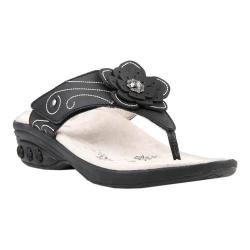 Women's Therafit Julia Thong Sandal Black Leather