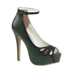 Women's Pin Up Bella 31 Open-Toe Ankle Strap Pump Dark Green-Black Faux Leather
