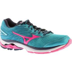 Women's Mizuno Wave Rider 20 Running Shoe Tile Blue/Pink Glo/Peacoat - Thumbnail 0