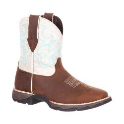 Women's Durango Boot DRD0180 Lady Rebel 7in Shortie Western Boot Dark Brown/Cream Full Grain Leather