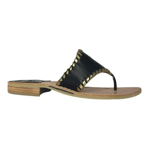 ba39767fe Shop Women s Jack Rogers Pineapple Thong Sandal Black Gold Leather - Free  Shipping Today - Overstock.com - 16074352