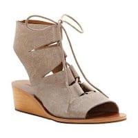 Women's Lucky Brand Gizi Ghillie Wedge Feather Grey Leather