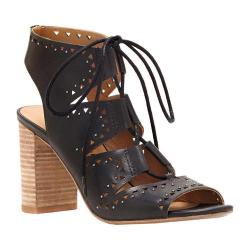 Women's Lucky Brand Tafia Ghillie Lace Up Sandal Black Leather