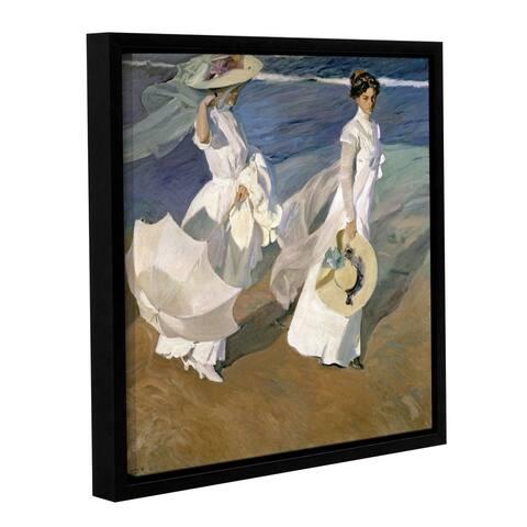 Joaquin Sorolla y Bastida's 'Strolling Along The Seashore, 1909' Gallery Wrapped Floater-framed Canvas