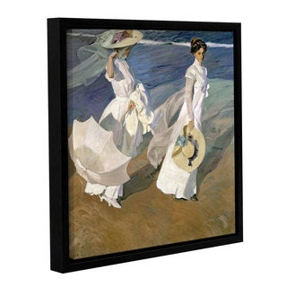 Joaquin Sorolla y Bastida's 'Strolling Along The Seashore, 1909' Gallery Wrapped Floater-framed Canvas